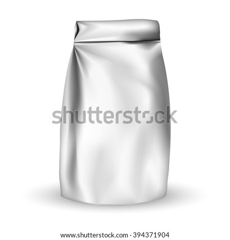 VECTOR PACKAGING: Foil packaging bag for snack or take away, bulk products, tea, coffee, spices on isolated white background. Mock-up template ready for design - stock vector