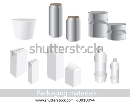Vector packaging icon set. Dummies to place your design on. - stock vector