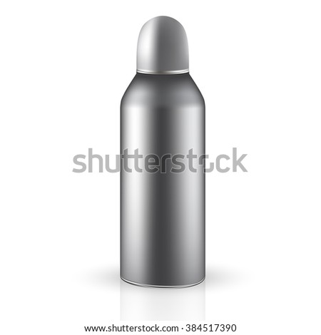 VECTOR PACKAGING: Metallic tin gray aerosol round container isolated on transparent background. Mock-up template for design.