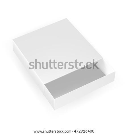 VECTOR PACKAGING: Open white gray packaging box, top view on isolated white background. Mock-up template ready for design.