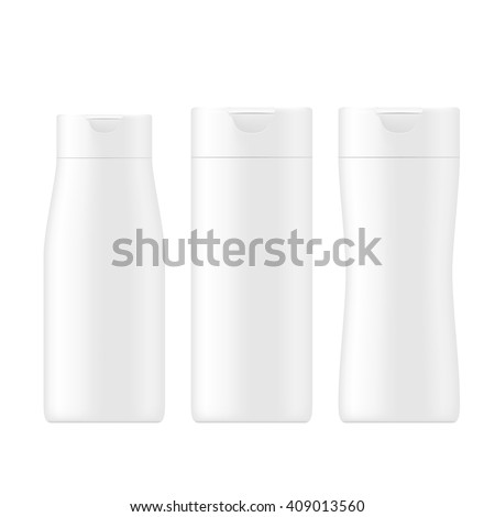 VECTOR PACKAGING: SET of white gray beauty products/cosmetics bottle on isolated white background. Mock-up template ready for design - stock vector