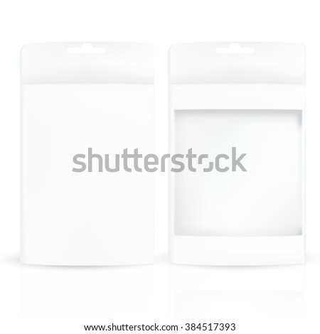 VECTOR PACKAGING: Set of white gray product packaging box with hanging hole, one box with front window isolated on transparent background. Mock-up template ready for design