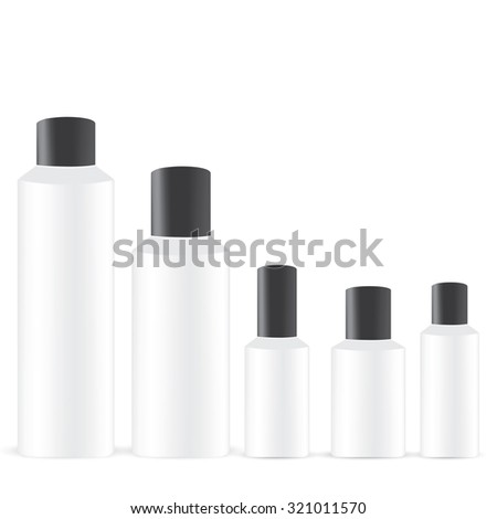 Vector Packaging: Set of white round bottle container with black lid or cosmetic/perfume on isolated white background. Mock-up template ready for design . - stock vector