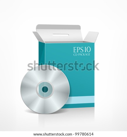Vector packaging software blue box template and CD disk, illustration
