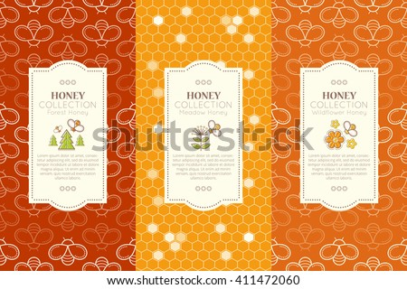Vector packaging template with seamless patterns. Natural honey collection (types of honey - forest honey, meadow honey, wildflower honey). Warm color palette of golden tints - stock vector