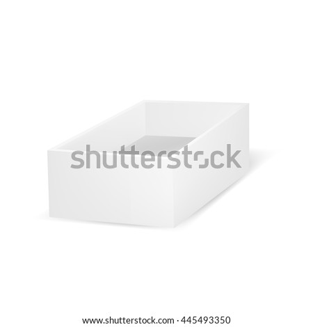 VECTOR PACKAGING: Top view of open white gray packaging box on isolated white background. Mock-up template ready for design.