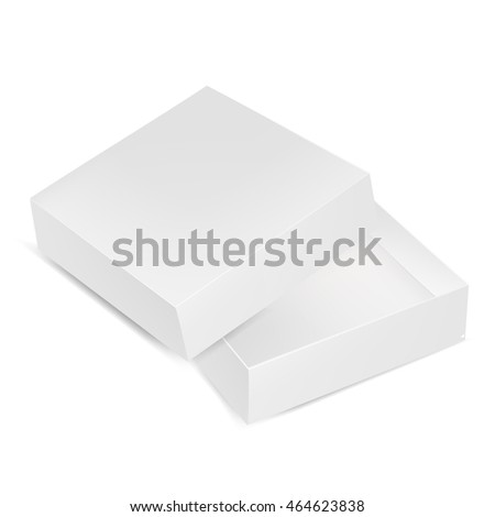 VECTOR PACKAGING: Top view of open white gray square packaging box on isolated white background. Mock-up template ready for design.