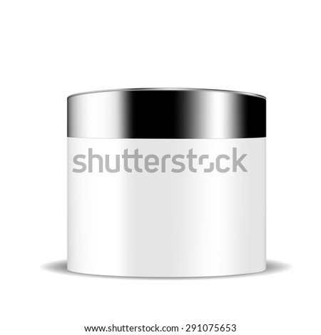 VECTOR PACKAGING: White gray container of beauty products or body care with black lid on isolated white background. Mock-up template ready for design.