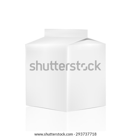 VECTOR PACKAGING: White gray liquid/powder carton container on isolated white background. Mock-up template ready for design.