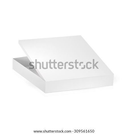VECTOR PACKAGING: White gray packaging box with open lid on isolated white background. Mock-up template ready for design