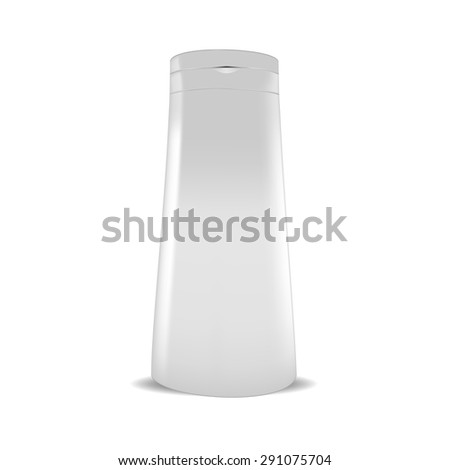 VECTOR PACKAGING: White gray plastic bottle of beauty products or body care on isolated white background. Mock-up template ready for design.   - stock vector