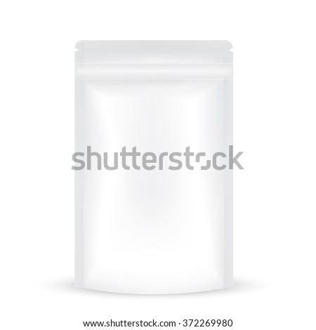 VECTOR PACKAGING: White gray resealable storage packaging bag on isolated white background. Mock-up template ready for design - stock vector