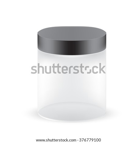 VECTOR PACKAGING: White gray, see through round container with black lid on isolated white background. Mock-up template for design