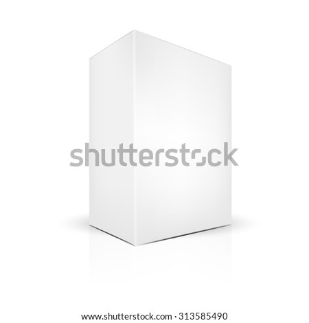 VECTOR PACKAGING: White gray thick side view package box on isolated white background. Mock-up template ready for design