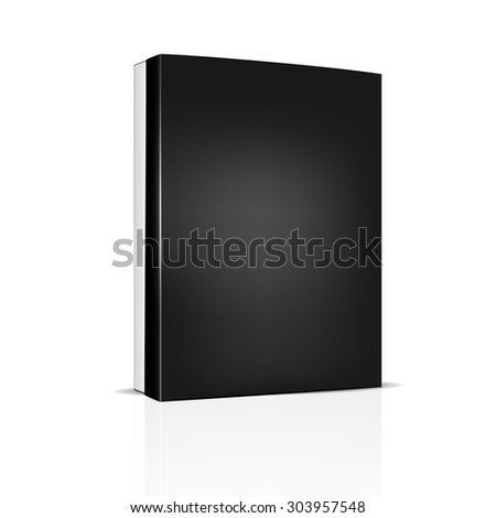 VECTOR PACKAGING: White thin package box with black lid on isolated white background. Mock-up template ready for design.