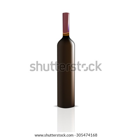 VECTOR PACKAGING: Wine bottle on isolated white background. Mock-up template ready for design