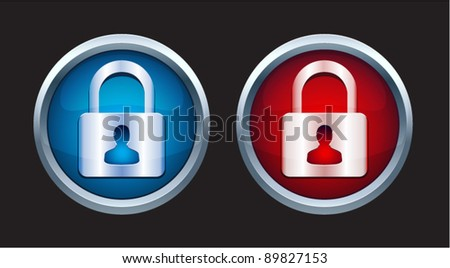 Vector padlock icon with person symbol in two colors - stock vector