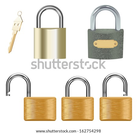 Vector Padlock Set on White Background, raster version available