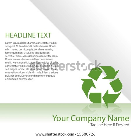Vector page layout with recycling symbol and space to add your own text - stock vector
