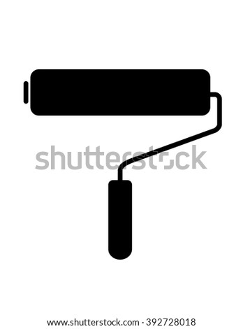 Vector paint roller silhouette in black and white - stock vector