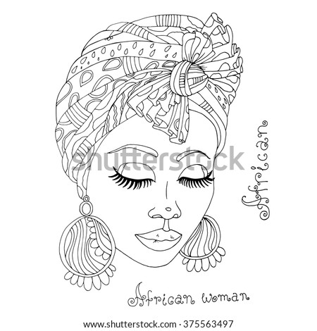 Vector painted portrait of a beautiful African girl in a scarf drape with ornament and a knot on her head. Original hand drawn phrase African woman. On a white background