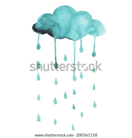 Vector painting hands cloud and rain. Turquoise watercolor art. Design element. Creative weather. Fine raindrops in sky. - stock vector