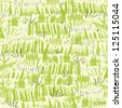 vector painting of green grass seamless pattern background  with hand drawn elements - stock vector