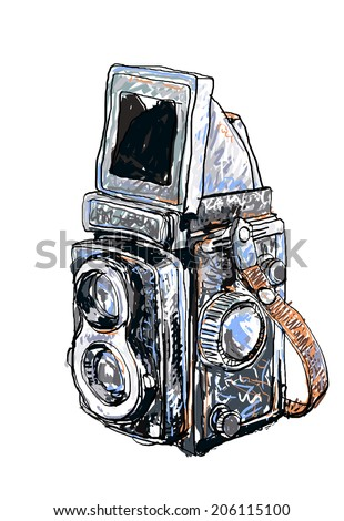 Vector painting of old twin lens reflex camera on white background - stock vector