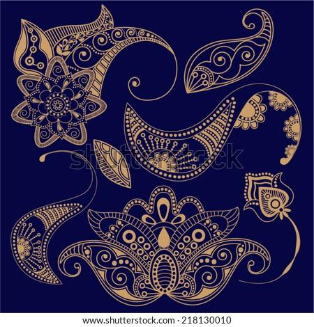 Vector Paisley floral decorative elements. Vector contour - stock vector