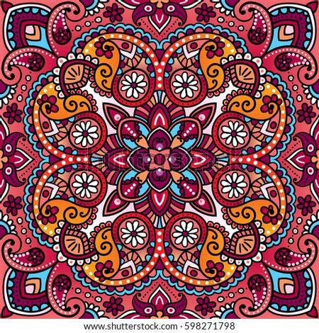 Vector Paisley Vintage Oriental Kerchief, Pillow, Blanket Design. Arabic,  Indian, Moroccan