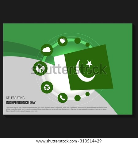 Vector Pakistan Independence Day Flyer Template Stock Vector