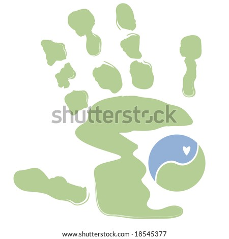 Vector palm print with yin yang symbol; could be used for massage therapy - stock vector