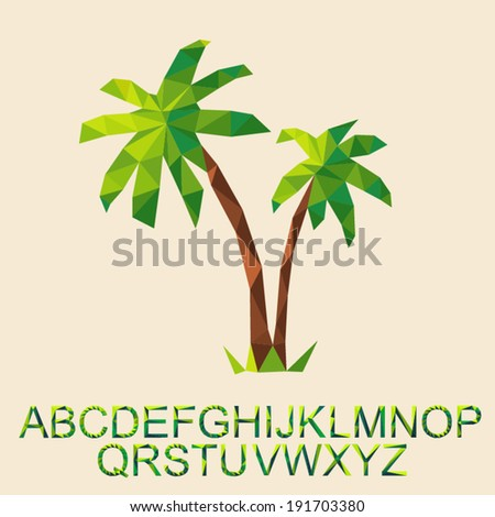 vector palm tree, concept poster for the rest (holiday) with font by triangles, polygon vector illustration  - stock vector