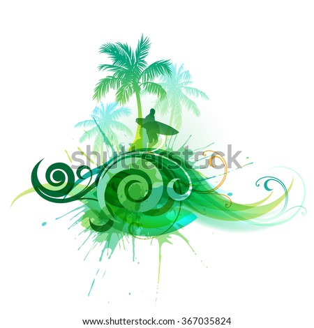 Vector palm trees and a man with a surfboard - stock vector