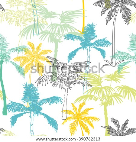 Vector Palm Trees California Grey Blue Yellow Seamless Pattern Surface Design With Exotic, Decorative, Hand Drawn Plants.