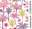 Vector palm trees seamless pattern background with hand drawn elements. - stock vector
