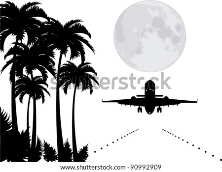 vector palms, moon and plane over runway - stock vector