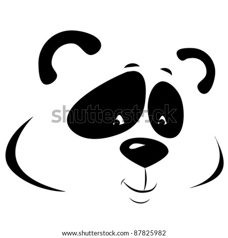 vector panda smiling. line picture isolated on white background - stock vector