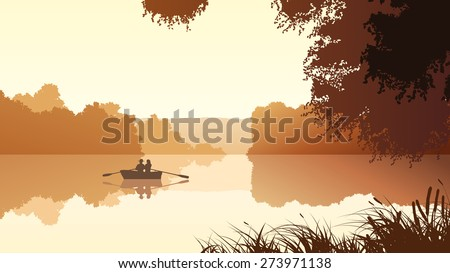 Vector panorama illustration of couple in boat on lake around trees. - stock vector