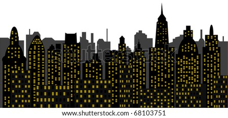 vector panorama of modern town - skyscrapers