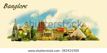 vector panoramic water color  illustration of BANGALORE city - stock vector