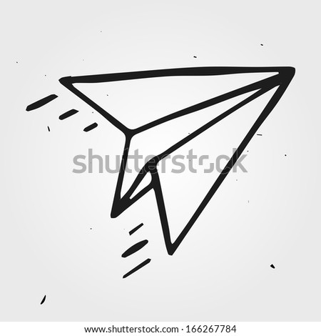Vector paper airplane isolated, hand drawn - stock vector
