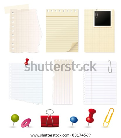 Vector paper and pin collection. Vector - stock vector