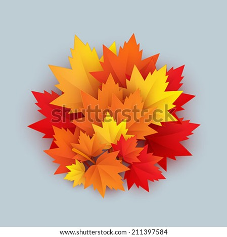 vector paper autumn leaves background - stock vector