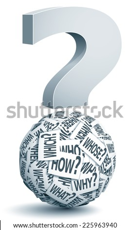 Vector paper ball with question words. Eps10. Transparency used. CMYK. Global colors. Gradients used. - stock vector