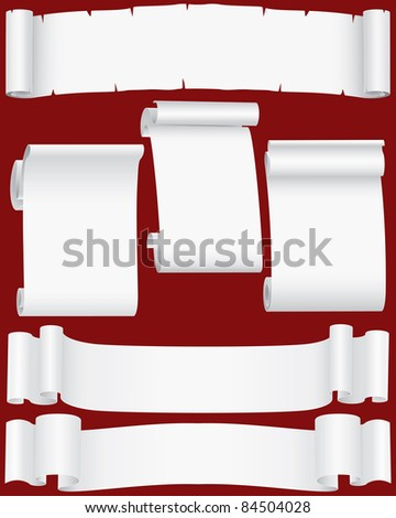Vector paper banners and scrolls set ( CMYK) - stock vector