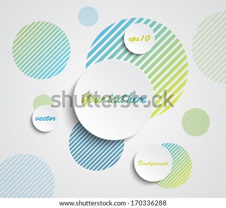 Vector paper banners over striped circles background for business design, infographics, reports, progress, step presentation, number options, websites or workflow layout. Clean and modern style - stock vector