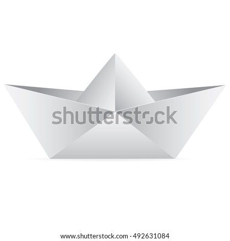 Vector paper boat isolated on a white background