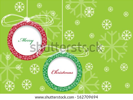 vector paper christmas balls with ribbons and place for your text isolated on green background with snowflakes - stock vector
