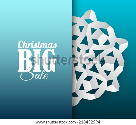 Vector paper christmas snowflake on a blue background - stock vector